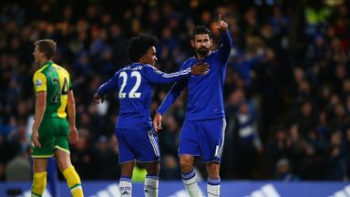 Diego Costa of Chelsea celebrates scoring his team's first goal against Norwich