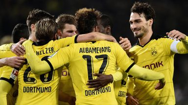 Dortmund players celebrate following Pierre-Emerick Aubameyang's goal