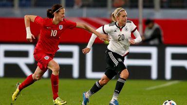 Jill Scott of England (left) tracks Lena Goessling of Germany