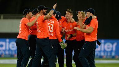 England celebrate winning the T20 international series against Pakistan in Dubai