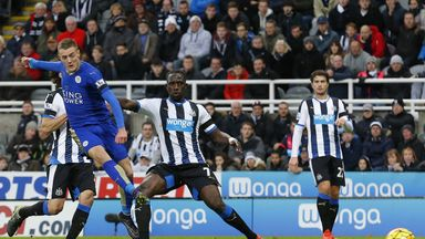 Jamie Vardy scores for Leicester at Newcastle on Saturday