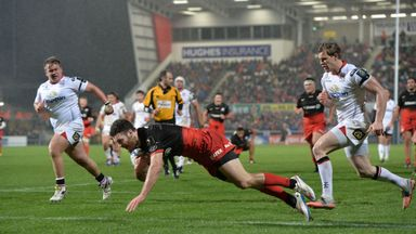 Duncan Taylor dives over for Saracens' third try in Belfast