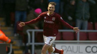 Lawson D'Ath of Northampton Town celebrates after scoring his side's opening goal against Yeovil