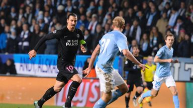 Paris Saint-Germain's Swedish forward Zlatan Ibrahimovic runs with the ball during the Champions League clash with Malmo