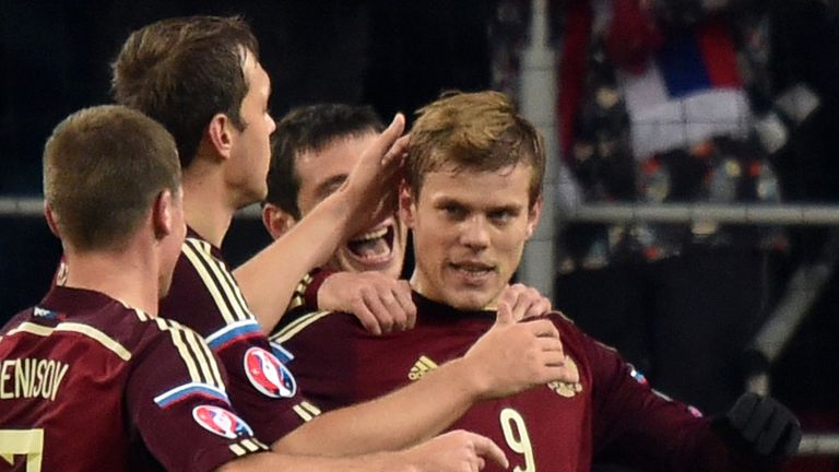 Russia stiker Aleksandr Kokorin (centre) has been linked with a move to the Emirates