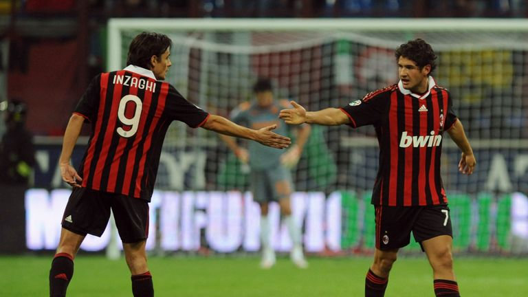 Pato celebrates scoring for AC Milan with Filippo Inzaghi