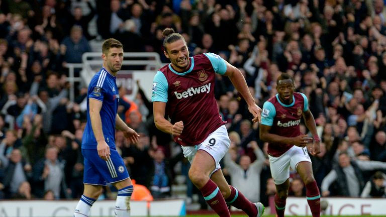 Andy Carroll celebrates his goal against Chelsea back in October