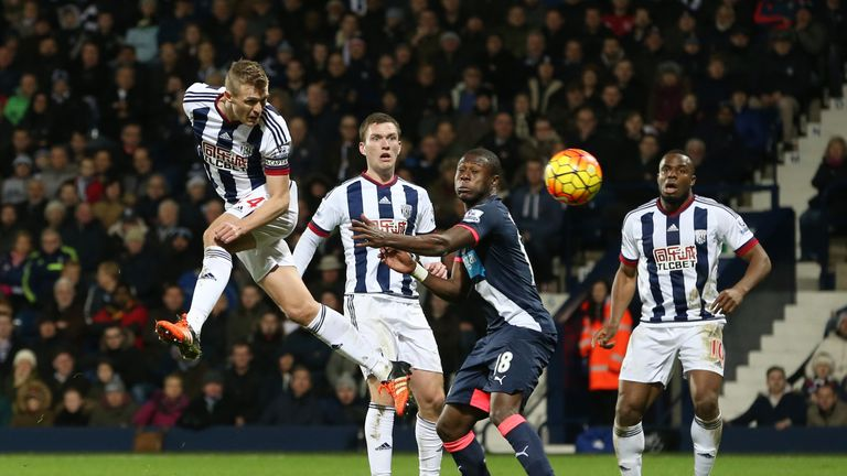 Darren Fletcher (left) of West Brom heads the ball to score his team's winner against Newcastle