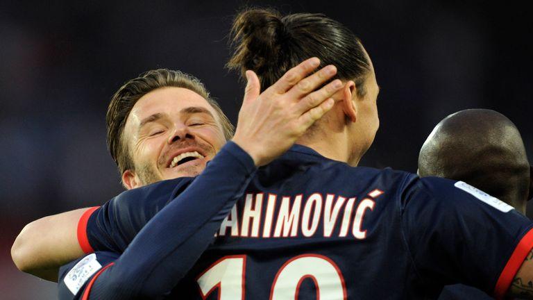 David Beckham has thanked Zlatan Ibrahimovic for joining Manchester United