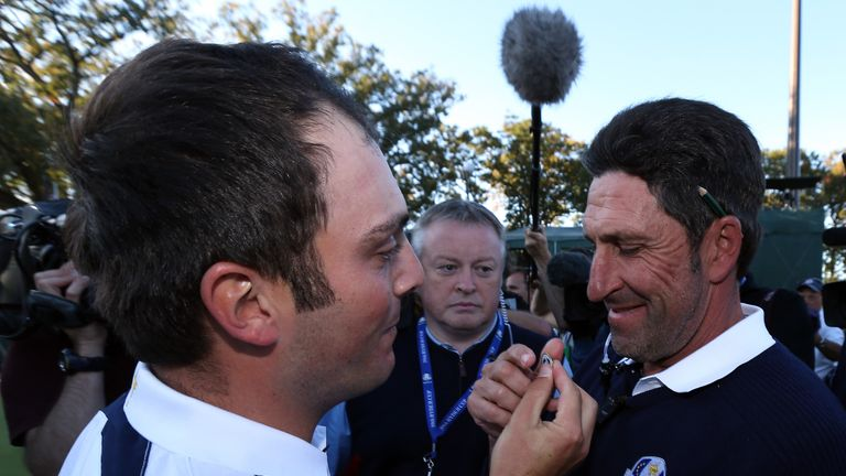 Molinari and Jose Maria Olazabal celebrate Europe's 14.5-13.5 victory in 2012