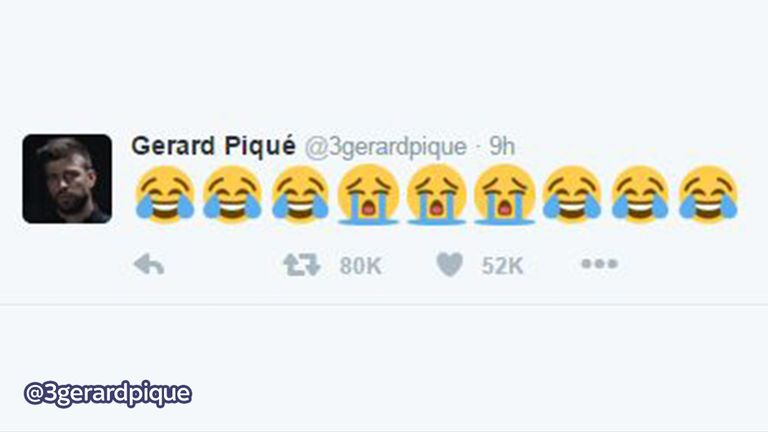 Barcelona defender Gerard Pique tweeted his apparent reaction to the news