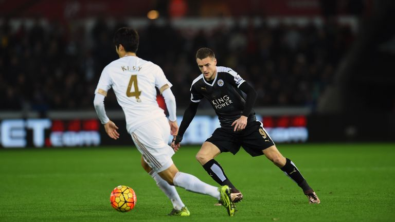 Leicester striker Jamie Vardy could not add to his goalscoring record against Swansea