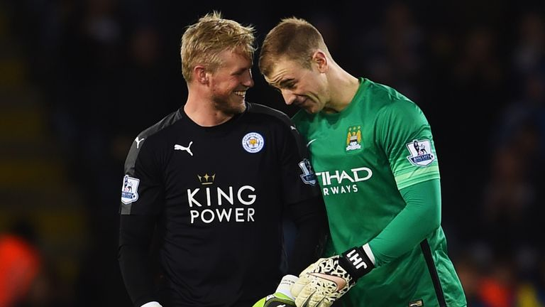 Joe Hart and Kasper Schmeichel share a joke after goalless draw