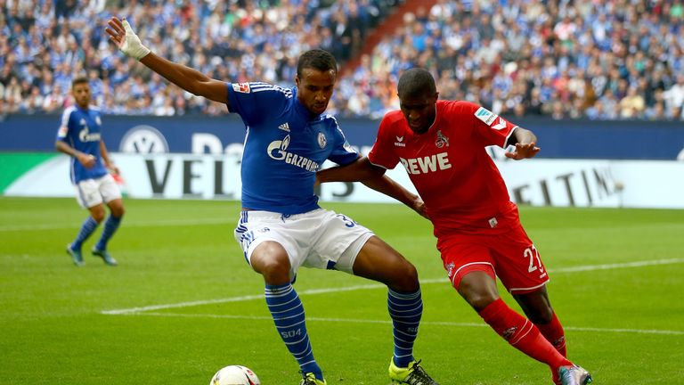 Joel Matip (left) in action for Schalke against Cologne earlier this season