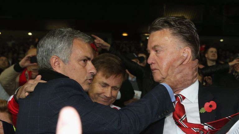 The report claimed Jose Mourinho (L) wrote to Manchester United about why he should replace Louis van Gaal (R)