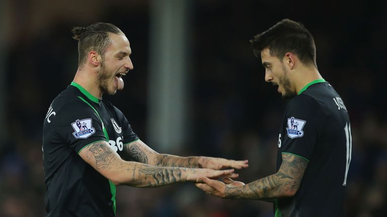 Stoke's Marko Arnautovic (left) celebrates scoring in the 4-3 win at Everton
