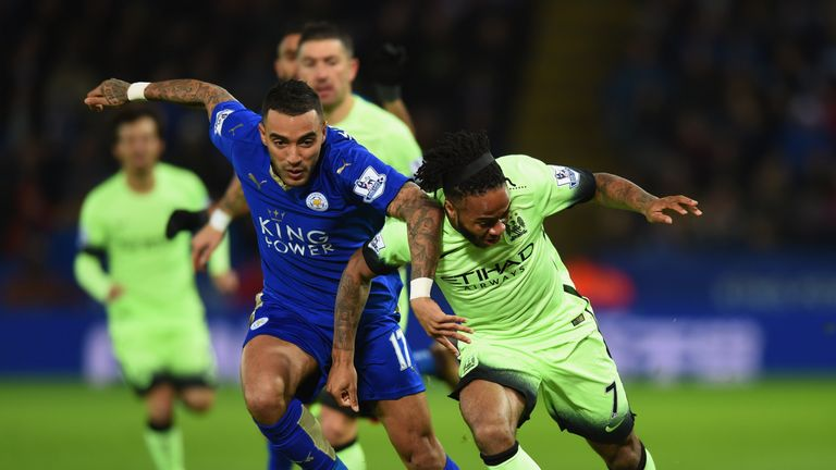 Raheem Sterling battles with Danny Simpson during the first half