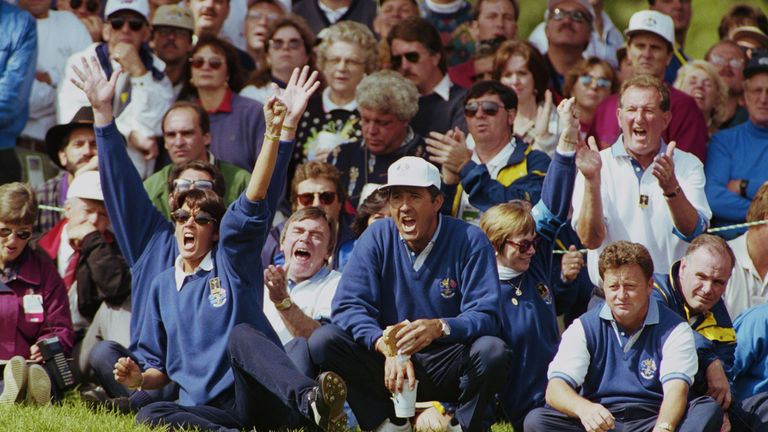 Seve and Ian Woosnam look on during the 1995 Ryder Cup, an event that took Sky's golf coverage to a new level