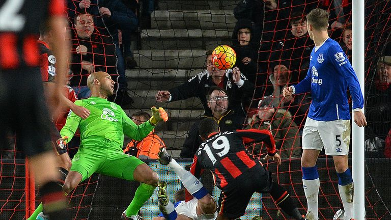 Junior Stanislas scores to make it 3-3 against Everton earlier in the season