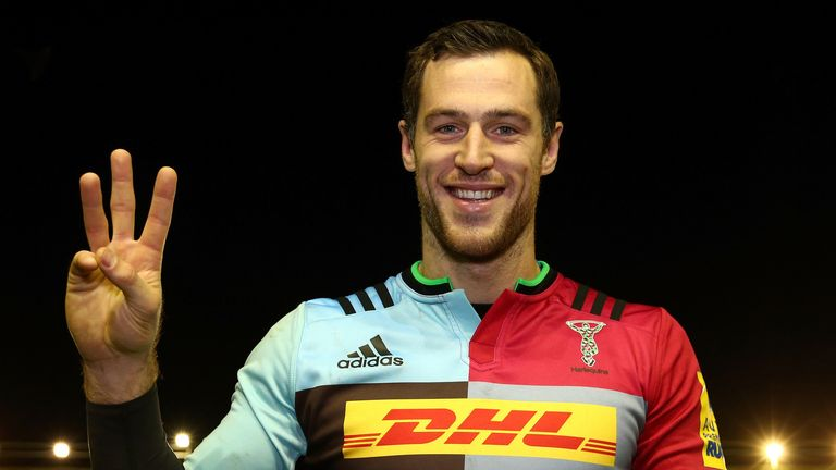 Harlequins wing Tim Visser scored a hat-trick against London Irish