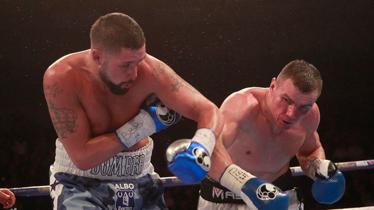 Bellew (left) almost finished the fight in the closing seconds
