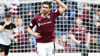 Igor Rossi celebrates his goal for Hearts against Aberdeen