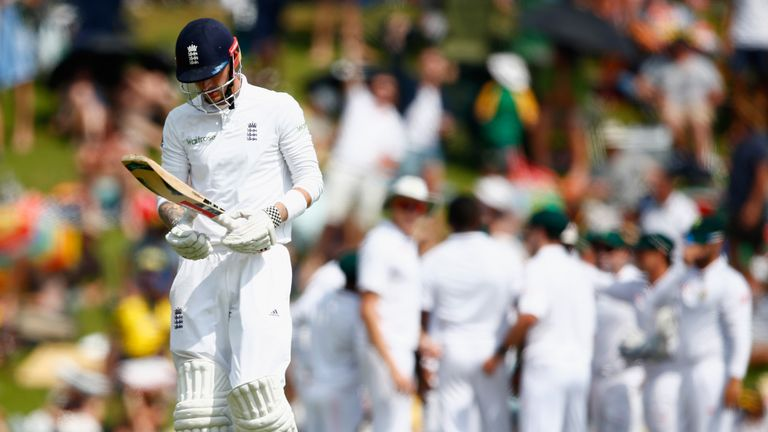 Alex Hales trudges off after being caught at cover during day two of the fourth Test