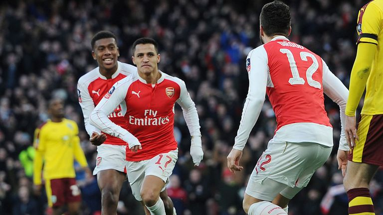 Alexis Sanchez celebrates scoring Arsenal's second goal against Burnley