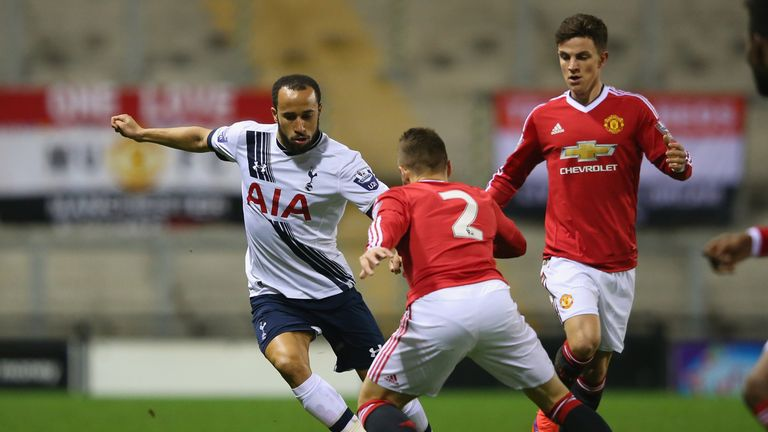 Andros Townsend in action against Manchester United U21