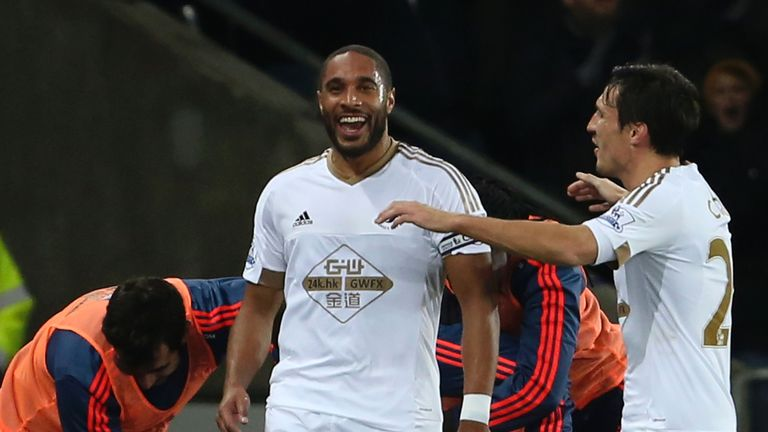 Ashley Williams celebrates scoring the winning goal