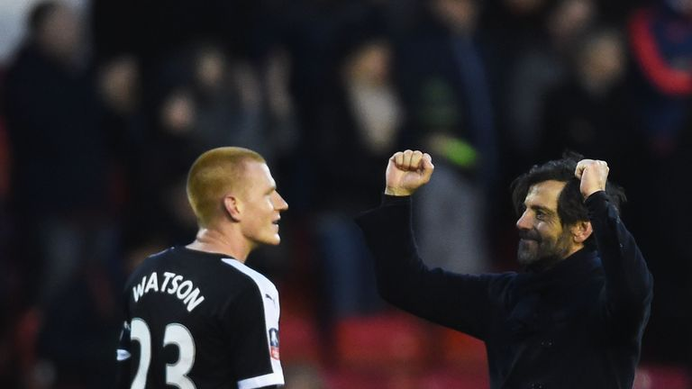 Ben Watson and manager Quique Sanchez Flores celebrate Watford's late win at Forest