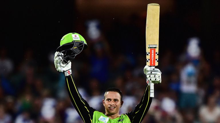 Usman Khawaja celebrates the second of two centuries he scored in the tournament