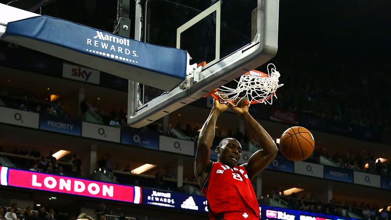 Toronto's Bismack Biyombo slams down a dunk during his side's win at the O2
