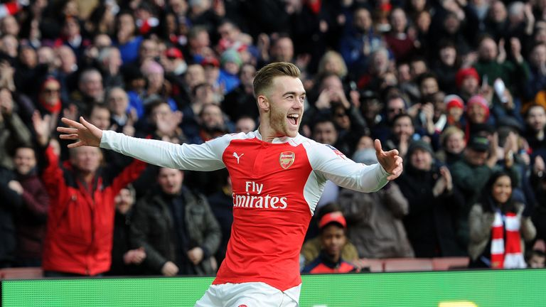 Arsenal's Calum Chambers celebrates scoring the opening goal