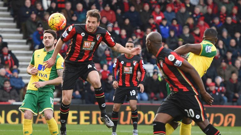 Dan Gosling heads home for Bournemouth against Norwich