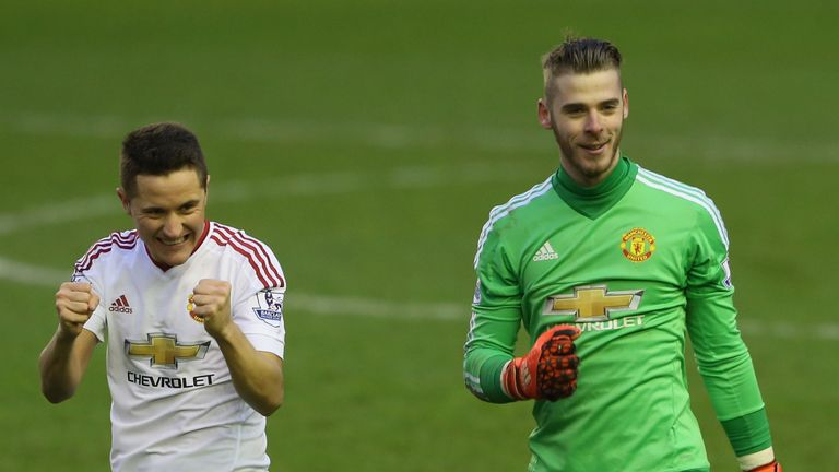 Ander Herrera and David de Gea celebrate victory