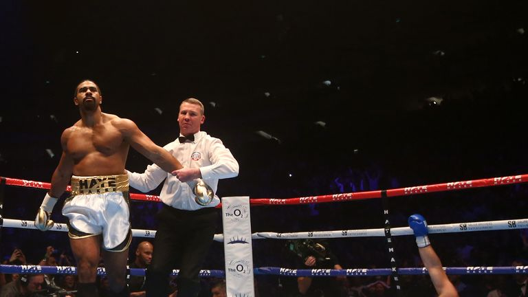 Haye leaves Mark de Mori (right) sprawled on the canvas at The O2