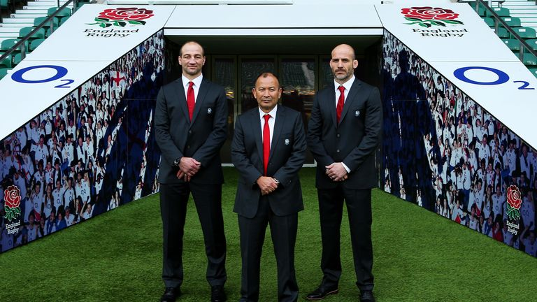 Eddie Jones (middle), with coaches Steve Borthwick (left) and Paul Gustard