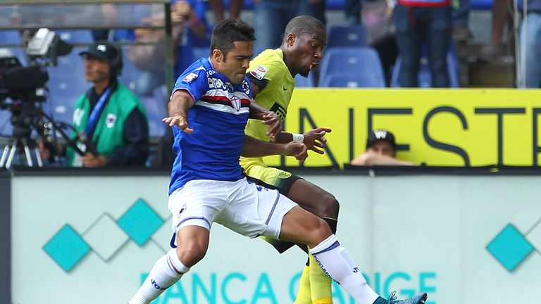 Sampdoria striker Eder (left) battles for the ball with Geoffrey Kondogbia of Inter Milan, the club he could be joining