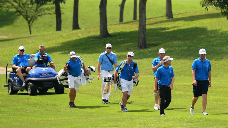 Team Europe practiced together on Tuesday ahead of the EurAsia Cup