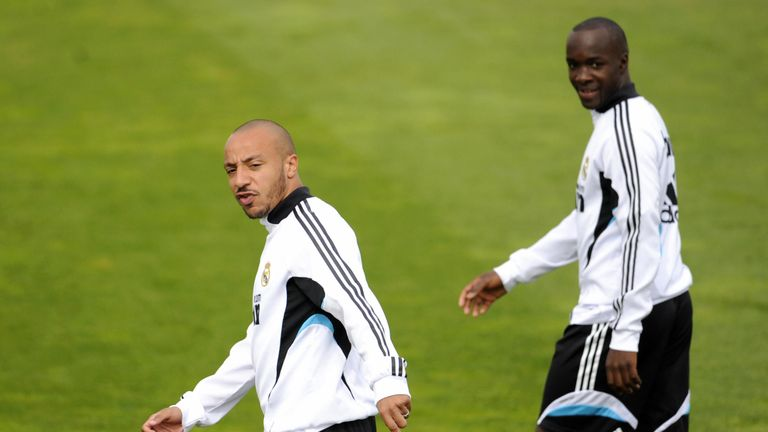Faubert pictured in Real Madrid training with Lassana Diarra in 2009