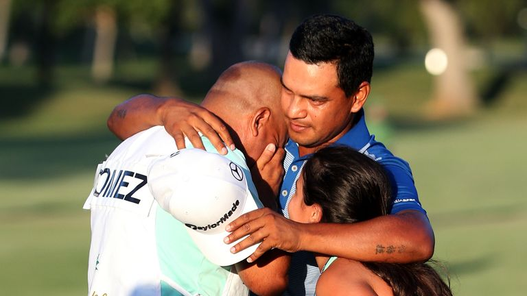 It was an emotional day for Gomez's caddie Adrian Monteros, who recently lost his father