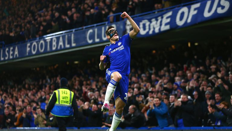Cesar Azpilicueta of Chelsea celebrates scoring his team's first goal against West Brom