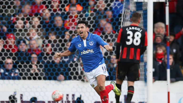 Gary Roberts of Portsmouth celebrates scoring his team's goal against Bournemouth
