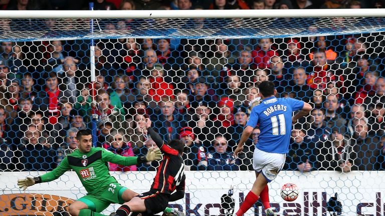 Gary Roberts opens the scoring for Portsmouth against Bournemouth