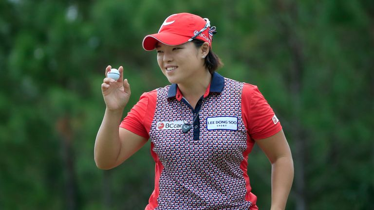 Ha Na Jang celebrated the first hole-in-one albatross in LPGA Tour history