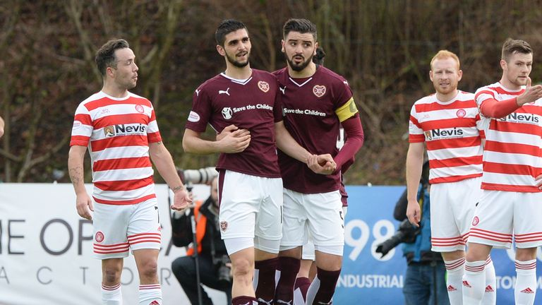 Hearts' Igor Rossi (left) after being sent off against Hamilton