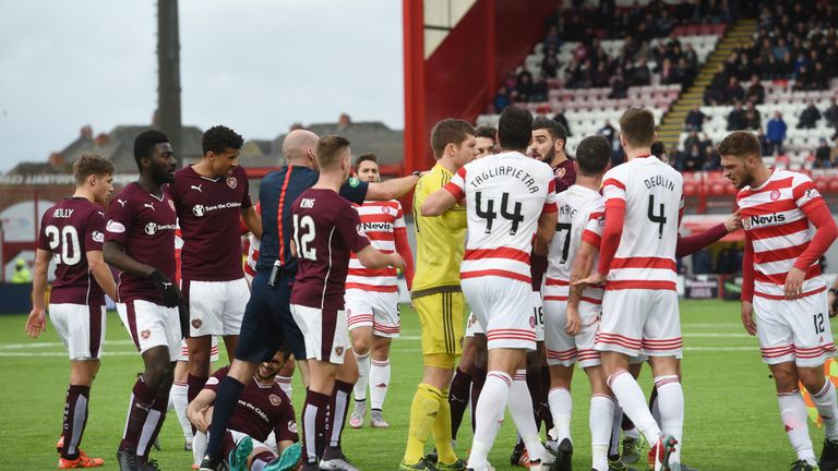 There were angry exchanges between the Hamilton and Hearts players