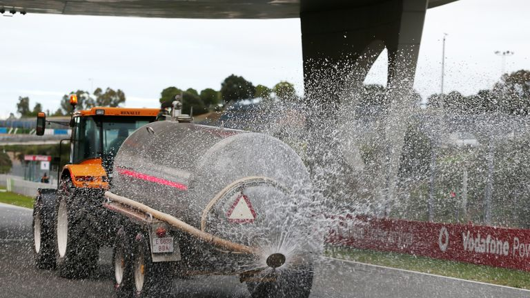 The hi-tech Paul Ricard track will be artificially doused with water - albeit in rather more scientific fashion than this method at Jerez in 2014!