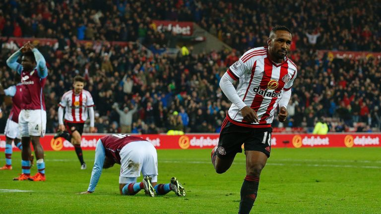 Sunderland's Jermain Defoe celebrates scoring the first of his two goals